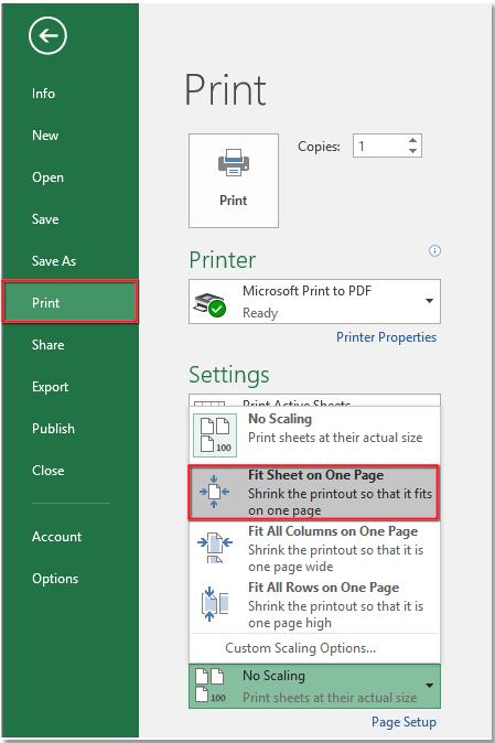 چاپ گرفتن کل داده ها در یک صفحه در اکسل